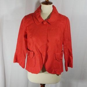 J. Crew Tulip linen jacket in orange sz 4